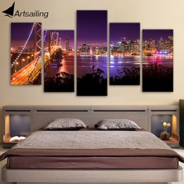 Wholesale Bridge Life - HD Printed san francisco Night Bridge Painting Canvas Print room decor print poster picture canvas Free shipping ny-3009