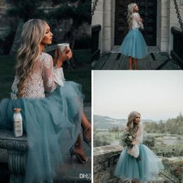 Wholesale Mint Green Gowns - Short Homecoming Prom Dresses 2017 Cheap White and Mint Lace Short Two Piece Long Sleeve Illusion Boho Graduation Trendy Evening Gowns