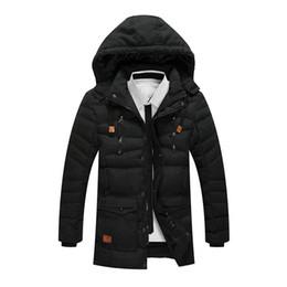 Wholesale Mens Slim Fit Down Coat - Wholesale- Fashion New Long Mens Cotton Coat Slim Fit Hat Detachable Men Jacket Solid Warm Cotton-Padded Jacket Winter Autumn Outwear 62004