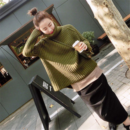 Wholesale Turtleneck Korea Women - Wholesale- [XITAO] 2016 South Korea Winter Fashion Loose Thickening Turtleneck Batwing Sleeves Pure Color Pullovers Female Sweater LYA-005