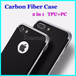 Amortecedor da fibra do carbono do iphone on-line-Design de moda de fibra de carbono casos para iphone 7 6 plus híbrido tpu shell pc bumper duas partes premium proteção tampa traseira para galaxy s7