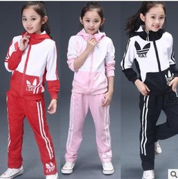 Wholesale Pink Lotus Clothing - Girls Tracksuits 2017 New Autumn Children Long Sleeve Clothing Sets Girls Print Lotus Outfit Kids Clothes Sets Age 4-12T