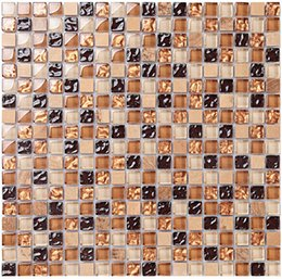 Wholesale Glass Art Marbles - Brown glass mix marble mosaic tiles 15x15x8mm Stone mixed glass mosaic tiles for bathroom kitchen Fireplace wall art tiles, LSTC005