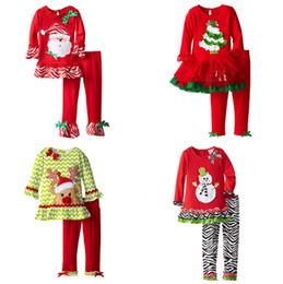 Noel Giysileri Bebek Sanda Ren Geyiği Ağacı Desen Uzun Kollu T-shirt Elbise Ve Pantolon Iki Parçalı Bebek Kız Noel Kıyafetler Set Kız Giyim cheap trees shirts nereden ağaç gömlekleri tedarikçiler