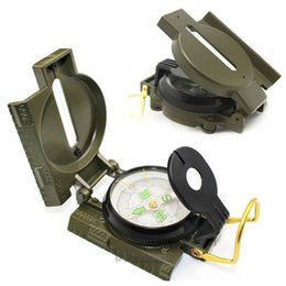 Wholesale Pocket Watch Hunting - High quality Mini Military Lensatic Watch Pocket Compass Magnifier Army Green For Camping Hunting Marching, Free Shipping Wholesale
