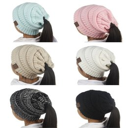 Wholesale Beanie For Kids - New Fashion Children CC Beanie Caps For 3 to 12 Year Old Winter Outdoor Warm Ponytail Hats Kids Girl Knitted Crochet Skull Beanies A307