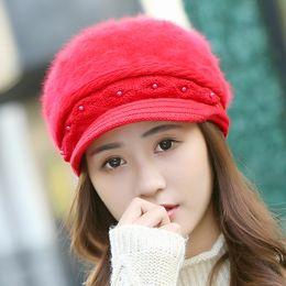 e867d3059b4 2017 Winter Fur Women s Winter Hats Girls Knitted Wool Rabbit Caps Female  Headgear Pompom Pearl Skullies Beanies fashion hat cap for womens discount  hat ...