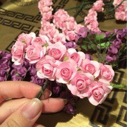Wholesale Wedding Mini Paper Roses - Wholesale-144pcs Mini Cute Paper Rose Handmade Artificial Flower For Wedding Decoration DIY Wreath Gift Scrapbooking Craft Fake Flower