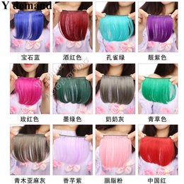 Wholesale Side Clip Extension - Like Human Hair Bangs Extension Wholesale 5pcs-Clips In On Side Synthetic Bangs Hair Fringe High Quality Hair Piece Many Color