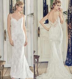 Wholesale Elegant Dresses Open Back - elegant sheath bohemian lace wedding dresses 2018 charlotte balbier bridal spaghetti sweetheart neckline open back sweep train