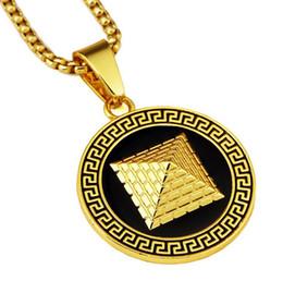 Mode Herren Halsketten Goldene Pyramide Anhänger 18 Karat Gold Überzogene Ketten Hip Hop Schmuck Design Punk Rock Micro Männer Lange 75 CM Kette von Fabrikanten