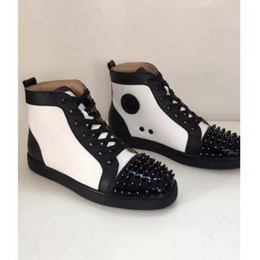 Wholesale Leather Sole Shoes For Men - New Brand Red Bottom Rivets Shoes Men High Top Casual Shoes Fashion Luxury Red Sole Spikes Studded Flat Shoes for Women