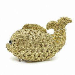All'ingrosso - Ladies Gold Fish Shape Sacchetto di sera di cristallo scava fuori Diamond Diamond Wedding Bag Purse Women Party Mini Borse LI-1561 da