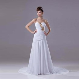 Wholesale European Designer Chiffon Dresses - Professional Designer Wedding Dress A-Line Chiffon Sweetheart Pleated White Bridal Gown Lower Back Luxury European Modern Design