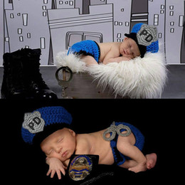 Wholesale Boys Winter Outfits - Newborn Photography Prop Police Costume Crochet Wool Hat Set Baby PO Knitted Caps Outfits Photo Props