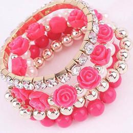 glänzender kristallcharme für armband Rabatt Armband Armband Armband Braccialetto 1 Set Glänzende Strass Rose Perle Kristall Elastische Armband Modeschmuck