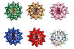 Accroche des bijoux interchangeables en Ligne-Partnerbeads NOOSA Fleur Ronde Snap Jewelry 6 Couleurs Strass interchangeable Cristal 20mm Vintage Snap Button KC9810