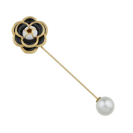Wholesale 14k Women Pin - New Fashion Black White Enamel with Simulated-pearl Flower Brooch for Women Fashion Accessories