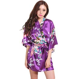 Wholesale- Purple Kimono Robes For Women Satin Bathrobe Long Silk Robes For  Bridesmaids Longue Female Women Dressing Gown Bridesmaid Robe 343633a7a