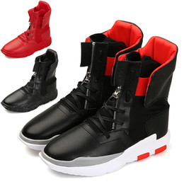 Wholesale rubber hip boots men - 2017 Autumn And Winter Fashion Men Casual Shoes Hip Hop Leather High-top tide Shoes SIZE: 39-44
