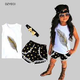 Wholesale Feathered Kids Clothes - Summer Feather Pattern Set For Girl Outfits 3PCS Tracksuit Kid Print Vest+Shorts Tassel Pant+Headband Tracksuit Children Boutique Clothes