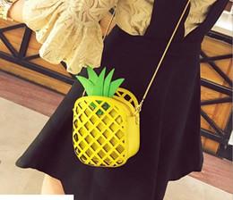 Wholesale Hops Direct - Foreign trade wholesale hollow shoulder bag hit color personalized creative pineapple shoulder bag fashion Messenger bag factory direct