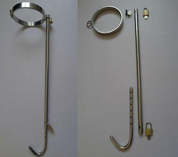 Wholesale Collar Anal - High quality Stainless Steel anal plug hook with collar and rod force back straight Bondage sex toys