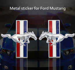 Wholesale Diy Metal Car - Fashion Car Styling metal Stickers DIY 3D Car Sticker Funny for Ford mustang logo Accessories Sliver  Black