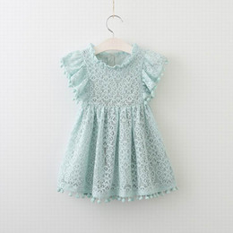 Wholesale Wholesale New Clothing - 2017 Summer New Girl Dress Flare Sleeve Lace Pom Pom Princess Dress Children Clothing E70424