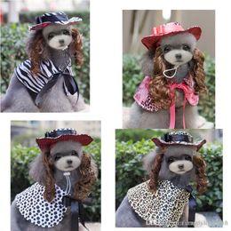 Wholesale Male Wigs White - Pet Dog Sets Zebra-stripe Tiger Stripe Trendy Pupple Dog Cloak+wig and Cap Cute Pet Photography Costime