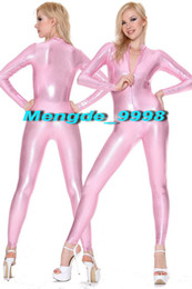 Catsuit rosa lucido online-New Pink Shiny Metallic Tuta Catsuit Costumi Sexy Front Zipper Body Suit Unisex Costumi Cosplay Outfit Halloween Cosplay Suit M089
