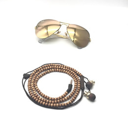 Wholesale Vintage Stereos - In-Ear Headphone Necklace Earbud Vintage Wooden Beads Bracelet Earphone For Male Leisure For Iso Android Can Be Used To Decorate Package