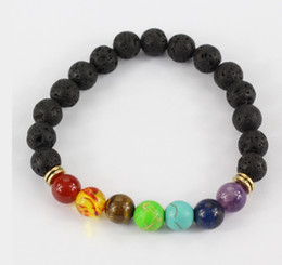 Wholesale Ceramics Designs - Design Mens Bracelets Black Lava 7 Chakra Healing Balance Beads Bracelet For Men Women Rhinestone Reiki Prayer Stones