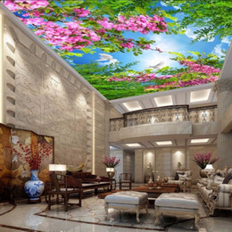 Wholesale Flower Wallpapers High Quality - Free Shipping 3D Stereo Flowers Blooming Sky Painting Wear High Quality Lobby Living Room Bedroom Mural Wallpaper