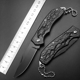 Wholesale Toy Knives - Keychain Mini cheap price Wholesale Keychain Mini Pocket Folding Knife 440C Blade Black Titanium Handle Outdoor Survival Knives EDC TOYS