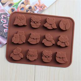 Wholesale 12 Hole Chocolate Silicone - FoodyMine New Arrived 12 Hole Owl Shape Silicone Chocolate Mold , Ice, Cupcake, Lollipop,& Sugar Tool 5pcs Free china post