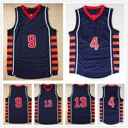 Wholesale Xxl Six - 2004 Athens Olympic USA Team Basketball Jerseys Dream Six Navy Blue Throwback #4 Allen Iverson 13 Tim Duncan 9 LeBron James Jersey