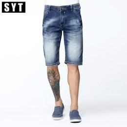 denim fabric washing Promo Codes - Wholesale- SYT New Arrival 2017 Summer Men's Denim Shorts Knee Length Slim Jeans Stretch Fabric Dark Wash Breathable Cotton V7S1S003