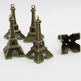Wholesale Gold Eiffel Tower Charms - Sweet Bell (12 pieces) 22*47mm Antique bronze Alloy big 3D Eiffel Tower Charms Jewelry Findings Fit Diy Jewelry D0766