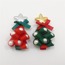 Wholesale Christmas Tree Star Top - Christmas Tree Hairpins Red Green Novelty Fashion New Side Hair Clips Star Top Grips With Pearls Festive Head Wear Barrettes