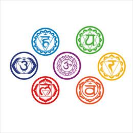 Wholesale Wall Stickers Yoga - home decor Chakras Vinyl Stickers (set of 7 pieces)- Health Aum Meditation Yoga Om Meditation Symbol Art Wall Decals home decoration