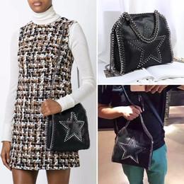 Wholesale Knit Cross Body Bags Black - Dropshiping factory sale falabella 18CM 25CM size shaggy deer pvc Hand-knit Star rivets crossbody Chain shoulder bag