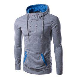 Wholesale Stylish Men Coat New Arrival - Wholesale- Stylish Men's Slim Warm Hooded Sweatshirt Coat Jacket Outwear New Arrival Asymmetry Design Double Breasted