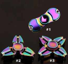 Wholesale Choice Ceramics - Rainbow Colorful Fidget Hand Spinner Toy Good Choice For Decompression Anxiety Metal Ceramic Ball Bearing Finger HandSpinner With Retail Box