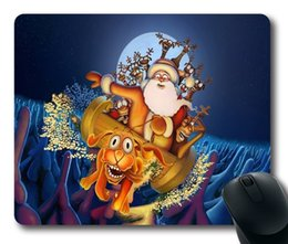 Wholesale Rubber Carts - Santa Claus With Deer Cart Mouse Pad Customized Game Mouse mat Rectangle