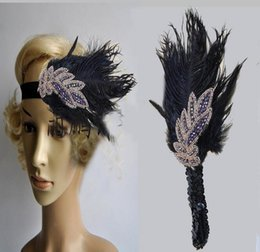 Wholesale Pure White Feathers - Pure DIY Retro Black Feather Headpieces Headdress Bride Little Hat Hair Ornaments For Ladies Prom Evening Party 2017