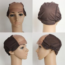 Wholesale Wholesale Wig Making Caps - Adjustable Straps Back Brown Glueless Full Lace Wig Caps Wholesale Price On Sale Small Medium Large Wig Caps For Making Wigs