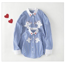 Wholesale Korean Casual Outfits - 2016 New spring and autumn stripe mother and daughter son clothes Family Clothing set Korean fashion loose shirt Family Matching Outfits