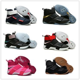 Wholesale Basketball Big Kids - 2017 Hot Sale James SOLDIER 10 Kid Women Mens Basketball Shoes for High Quality Youth Camouflage Sports Athletic Sneakers Big kids Size36-46