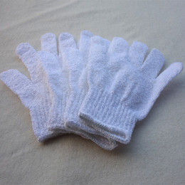 Wholesale Wholesale Bath Gloves - white nylon body cleaning shower gloves Exfoliating Bath Glove Five fingers Bath Gloves